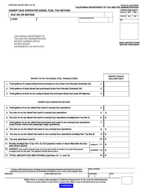 Form CDTFA-501-DB  Printable Pdf