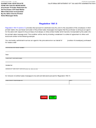"Form CDTFA-230-S ""Exemption Certificate - Printed Sales Messages"" - California"