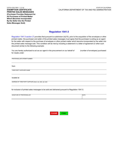 Form CDTFA-230-S  Printable Pdf