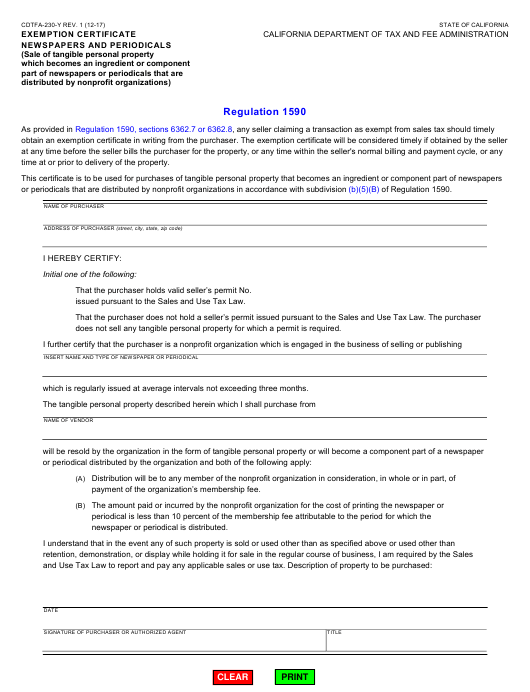 Form CDTFA-230-Y  Printable Pdf