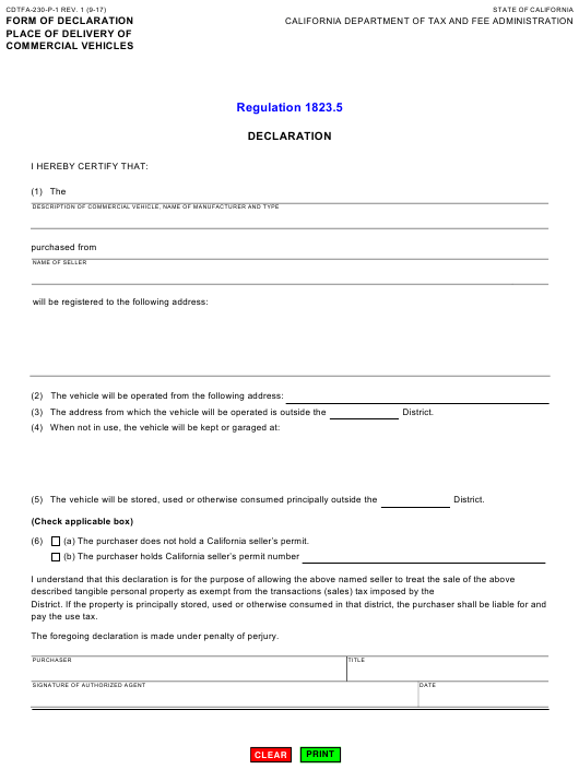 Form CDTFA-230-P-1 Printable Pdf