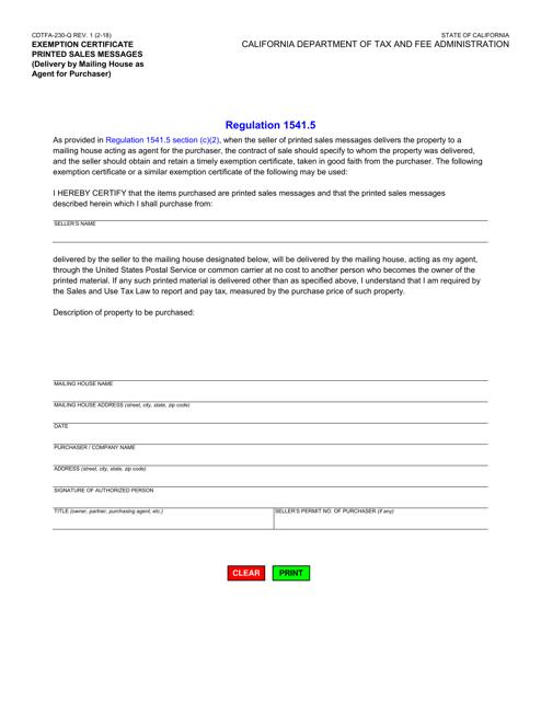 Form CDTFA-230-Q  Printable Pdf