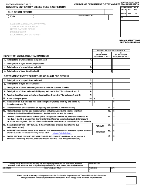 Form CDTFA-501-DGSR  Printable Pdf