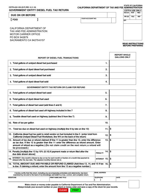 Form CDTFA-501-DG  Printable Pdf