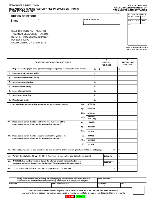 Form CDTFA-501-HFP  Printable Pdf