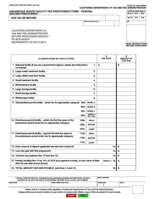 Form CDTFA-501-FFP2  Printable Pdf