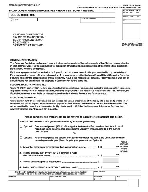 Form CDTFA-501-FGP  Printable Pdf