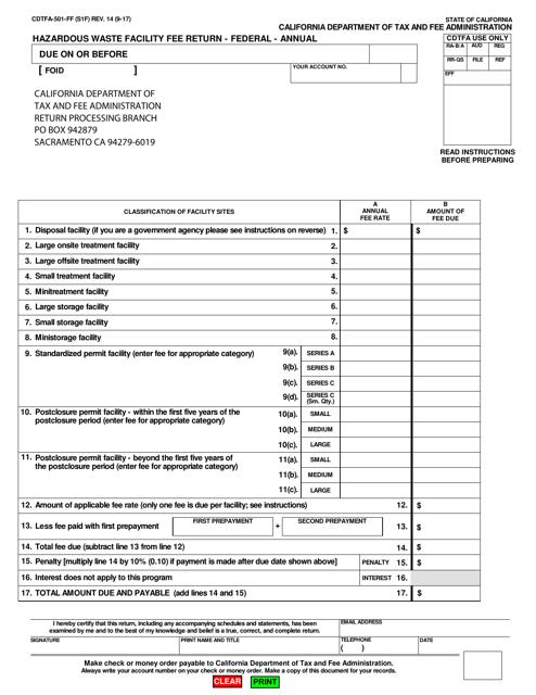 Form CDTFA-501-FF  Printable Pdf