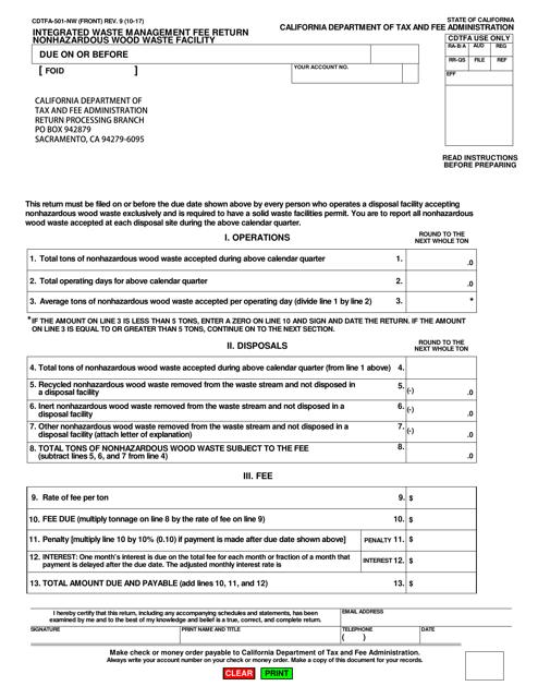 Form CDTFA-501-NW  Printable Pdf