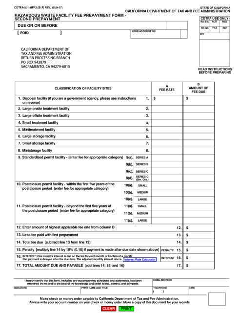 Form CDTFA-501-HFP2  Printable Pdf
