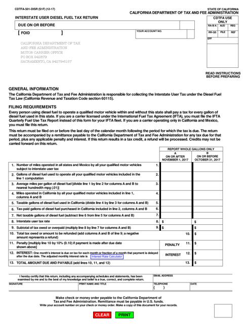 Form CDTFA-501-DISR  Printable Pdf