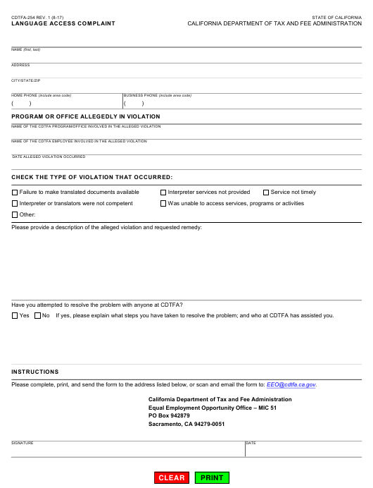 Form CDTFA-254 Printable Pdf
