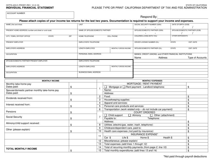Form CDTFA-403-E  Printable Pdf