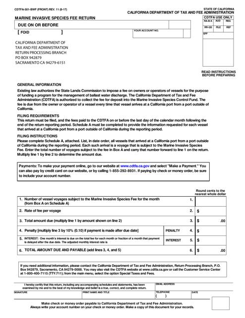 Form CDTFA-501-BWF  Printable Pdf