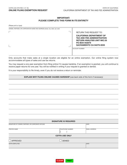Form CDTFA-245-OYE  Printable Pdf