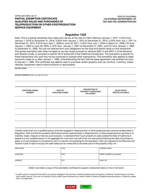 Form CDTFA-230-K  Printable Pdf