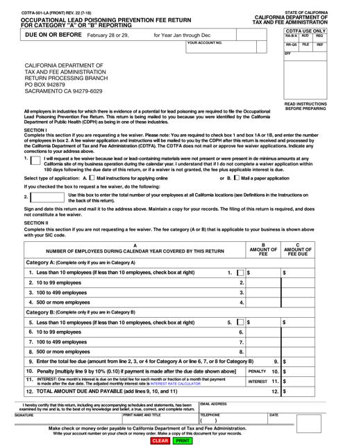Form CDTFA-501-LA  Printable Pdf