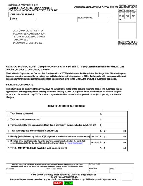 Form CDTFA-501-NC  Printable Pdf