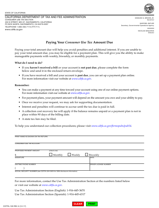 Form CDTFA-126 Fillable Pdf