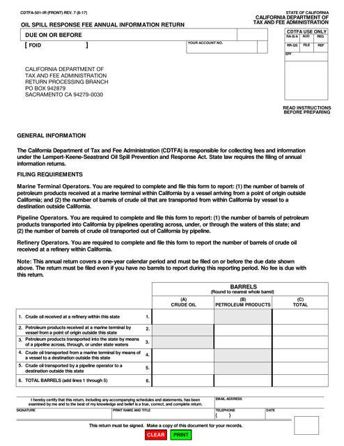 Form CDTFA-501-IR  Printable Pdf