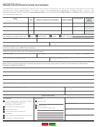 "Form CDTFA-329 ""Request for Certificate of Excise Tax Clearance"" - California, Page 2"