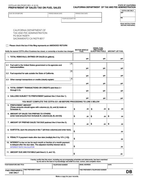 Form CDTFA-401-DB  Printable Pdf