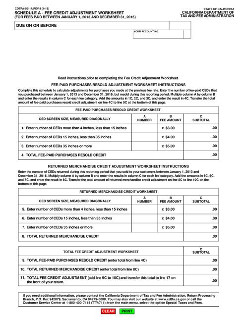 Form CDTFA-501-A Schedule A  Printable Pdf