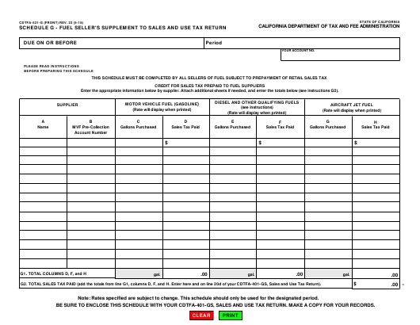 Form CDTFA-531-G Schedule G  Printable Pdf