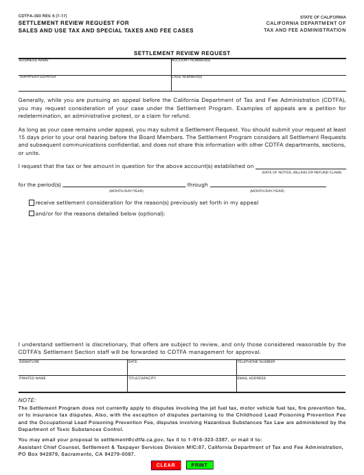 Form CDTFA-393  Printable Pdf