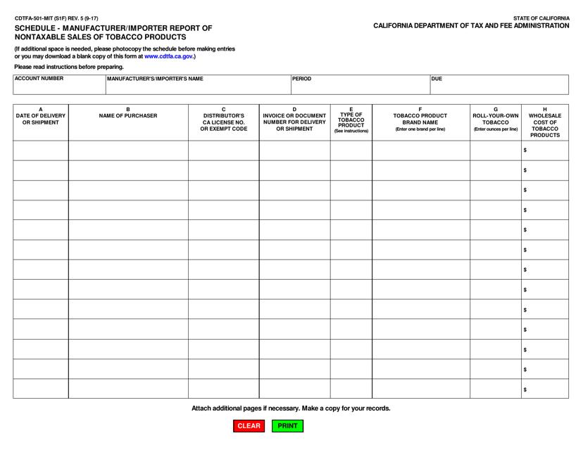 Form CDTFA-501-MIT  Printable Pdf