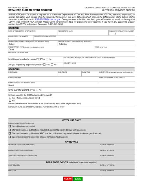Form CDTFA-344  Printable Pdf
