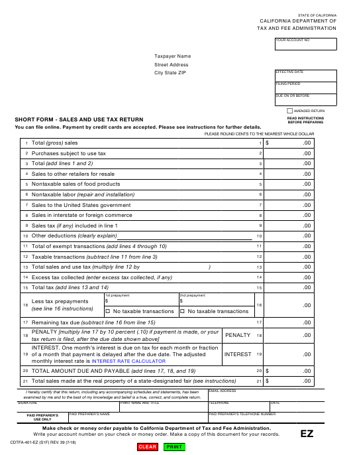 Form CDTFA-401-EZ  Printable Pdf