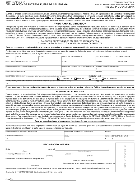Formulario CDTFA-448S  Printable Pdf