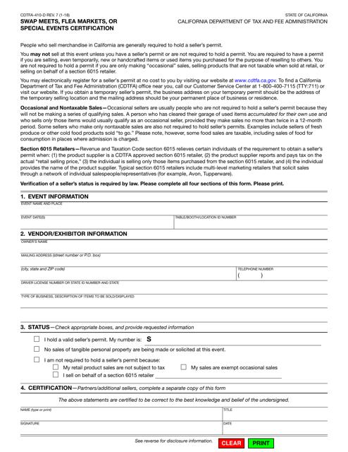 Form CDTFA-410-D Download Fillable PDF, Swap Meets, Flea