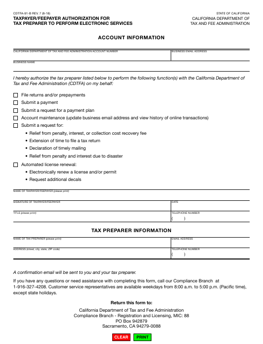 Form CDTFA-91-B  Printable Pdf