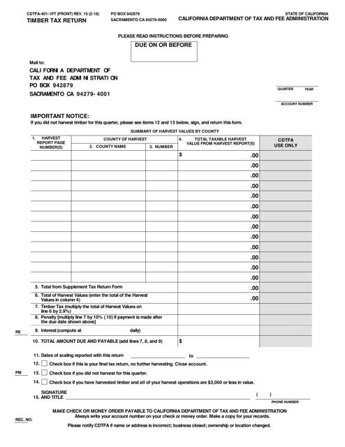 Form CDTFA-401-1PT  Printable Pdf