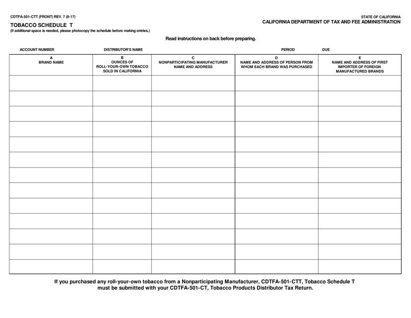 Form CDTFA-501-CTT  Printable Pdf