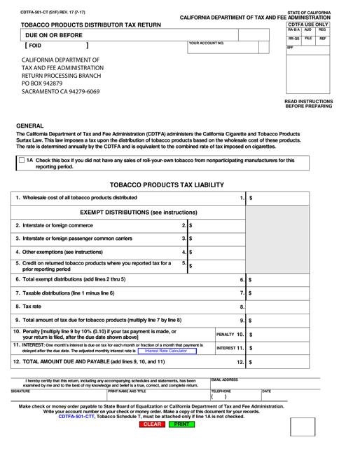 Form CDTFA-501-CT  Printable Pdf