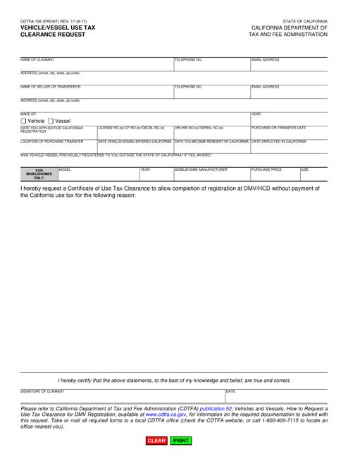 Form CDTFA-106  Printable Pdf