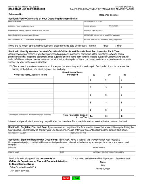 Form CDTFA-403-CLW  Printable Pdf