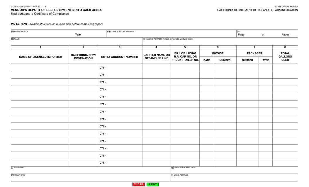 Form CDTFA-1056  Printable Pdf