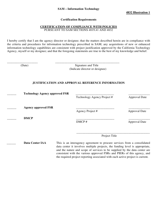 """""""Certification of Compliance With Policies"""" - California Download Pdf"""