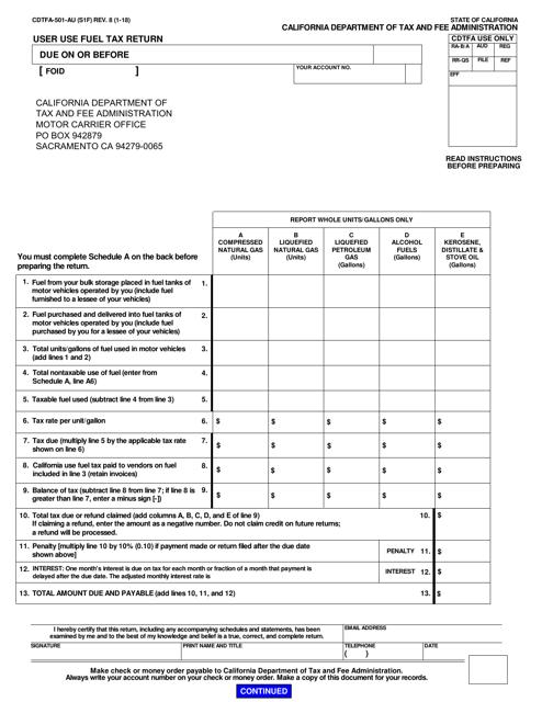 Form CDTFA-501-AU  Printable Pdf