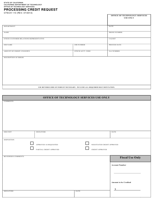 Form OTECH 110 Printable Pdf