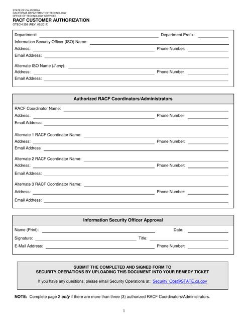Form OTECH258  Printable Pdf