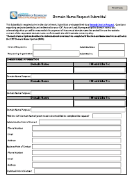 """""""Domain Name Request Submittal Form"""" - California"""