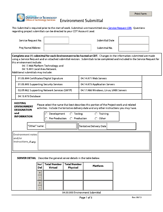 """""""Environment Submittal Form"""" - California Download Pdf"""