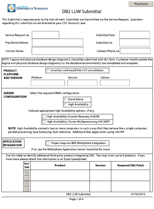 """Db2 Luw Submittal Form"" - California Download Pdf"