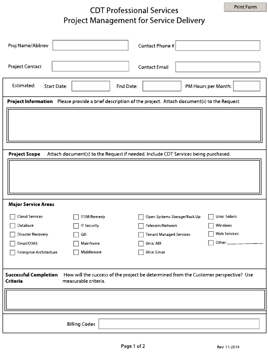 """Project Management Submittal Form for Service Delivery"" - California Download Pdf"