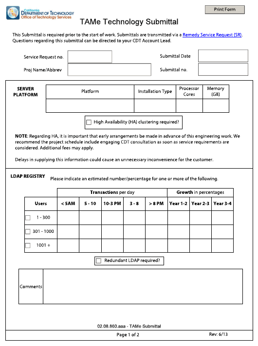 """""""Tame Technology Submittal Form"""" - California Download Pdf"""